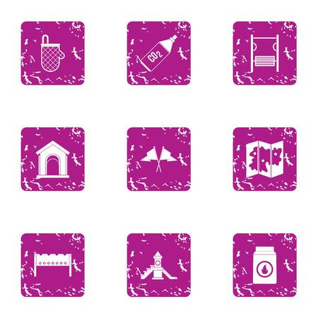Pitch icons set. Grunge set of 9 pitch vector icons for web isolated on white background