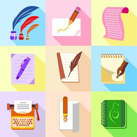 Stuff for writer icons set, cartoon style