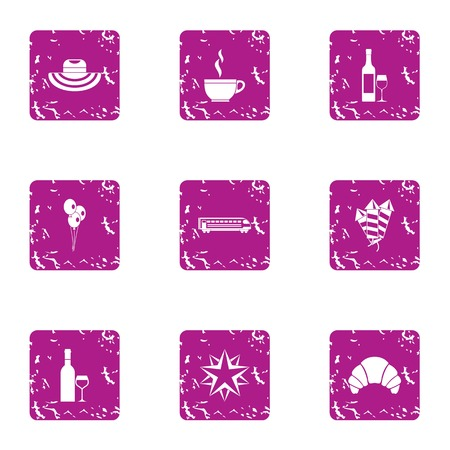 Worry icons set, grunge style Illustration