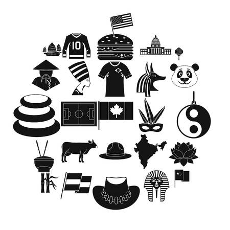 Monument icons set, simple style Illustration