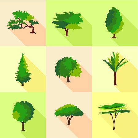 Timber icons set, flat style