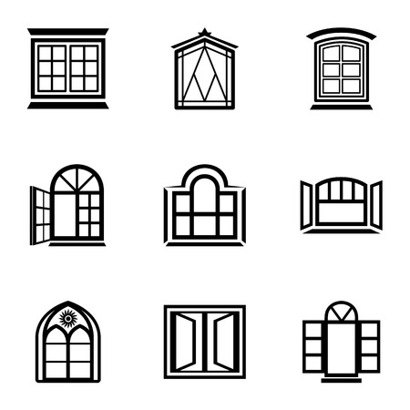 Stained glass icons set, simple style  イラスト・ベクター素材