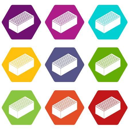 Brick icons set 9 vector