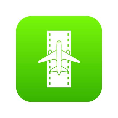 Airplane on the runway icon digital green