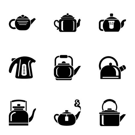 Hot teapot icons set, simple style