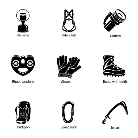 Clothing for hike icons set, simple style