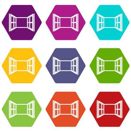Open window frame icons set 9 vector Illustration