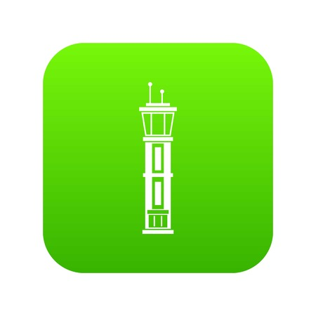 Airport control tower icon digital green