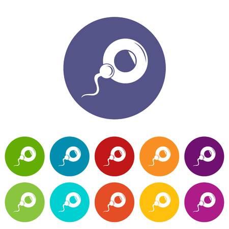 Fertilization egg icons set vector color