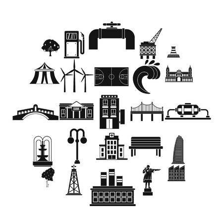 Ground icons set, simple style Illustration