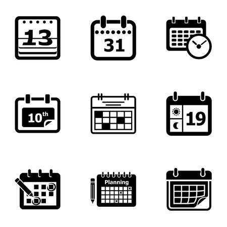 New calendar icons set, simple style