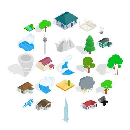 Terra icons set, isometric style Illustration