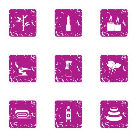 Clean day icons set, grunge style Ilustracja