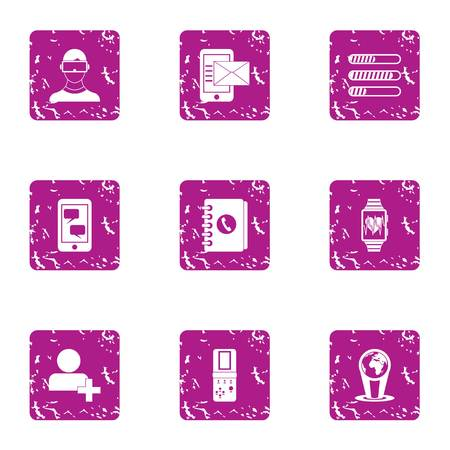 Recorded document icons set, grunge style Ilustração