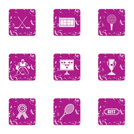 Hockey result icons set. Grunge set of 9 hockey result vector icons for web isolated on white background Illusztráció