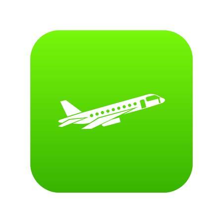 Airplane taking off icon digital green