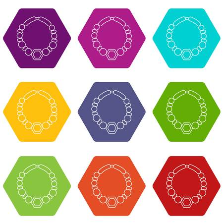 Pearl necklace icons set 9 vector 向量圖像