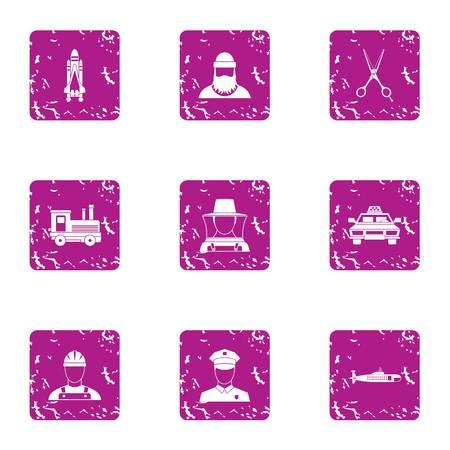Staffing icons set, grunge style