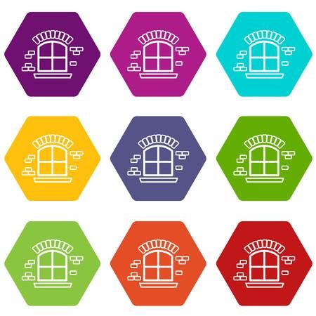 Small window frame icons set 9 vector  イラスト・ベクター素材