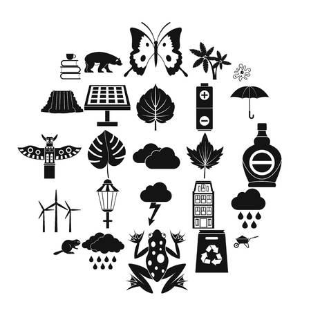 Foliage icons set, simple style