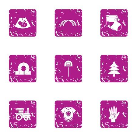 Descendant icons set, grunge style