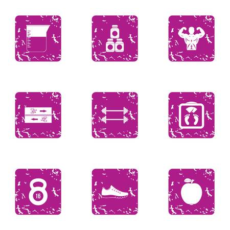 Sport suitableness icons set, grunge style
