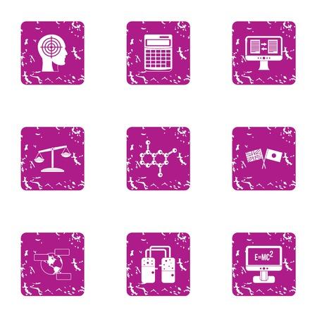 Scientific case icons set, grunge style