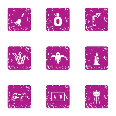 Ghost house icons set, grunge style