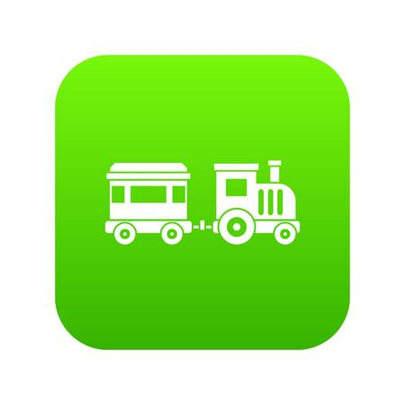 Toy train icon digital green Illustration