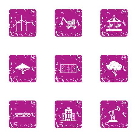 Construction project icons set, grunge style