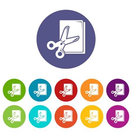 Scissors paper icons set vector color Illustration