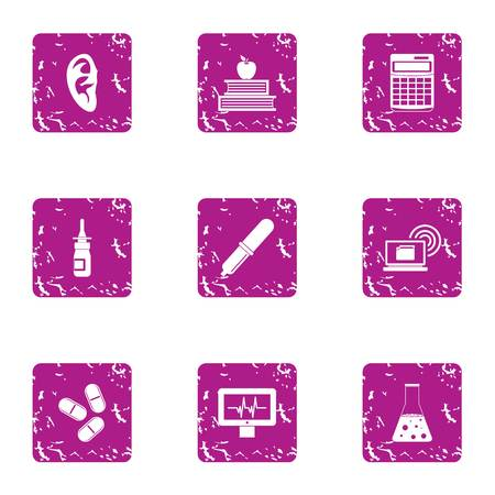 Sanitary doctor icons set, grunge style Illustration