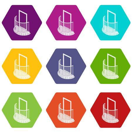 One door balcony icons set 9 vector