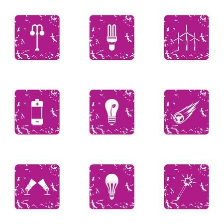 Highlight light icons set, grunge style