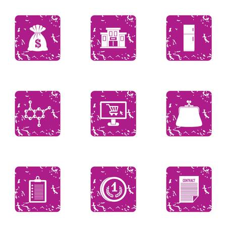 Investing in science icons set, grunge style