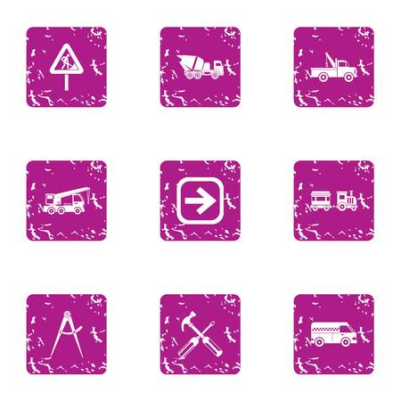 Revamp of carriageway icons set, grunge style Stok Fotoğraf - 102776285