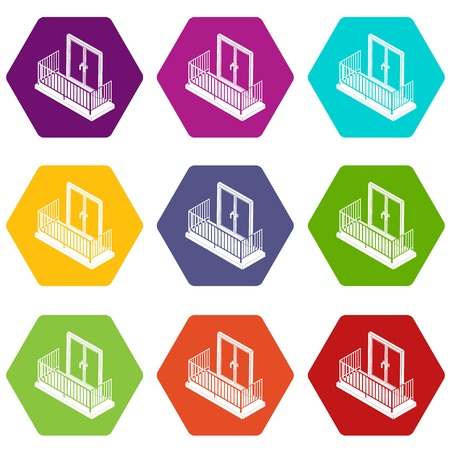 Balcony with metal fencing icons set 9 vector