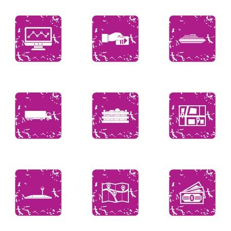 Carriageway icons set, grunge style Illustration