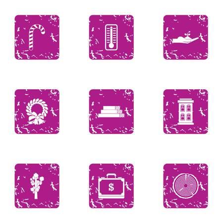 Money leisure icons set, grunge style