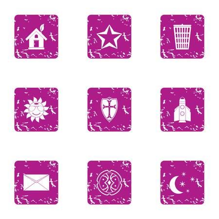 Fireside icons set, grunge style Illustration