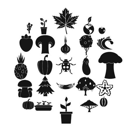 Greengrocery icons set, simple style