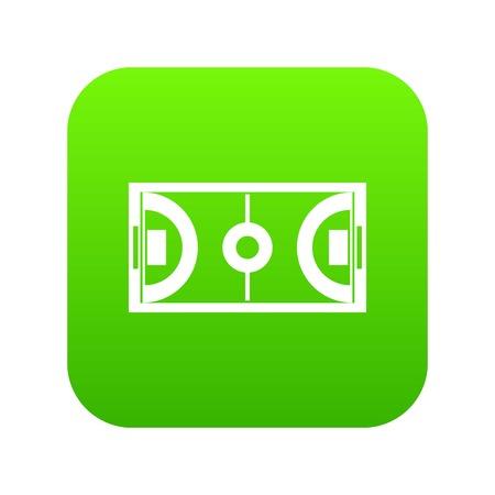 Futsal or indoor soccer field icon digital green