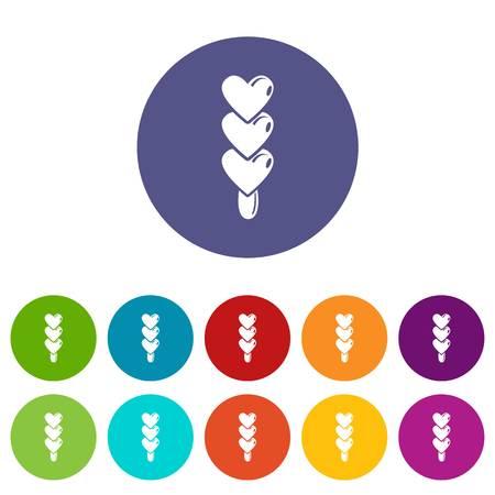 Three hearts ice cream icons set vector color