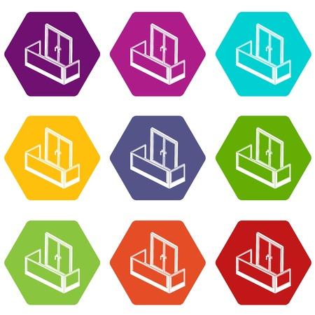 Glass balcony icons set 9 vector Stock Illustratie