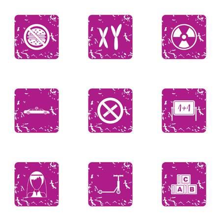 Change life icons set, grunge style