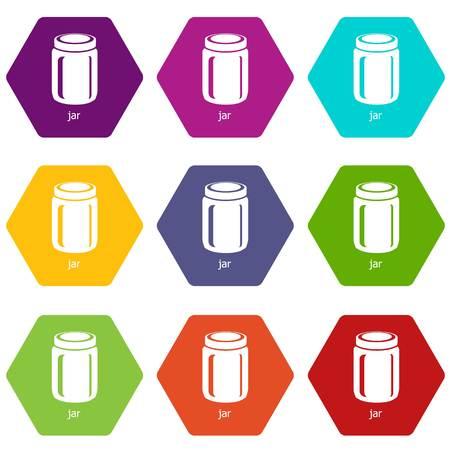 Jar icons set 9 vector Ilustração