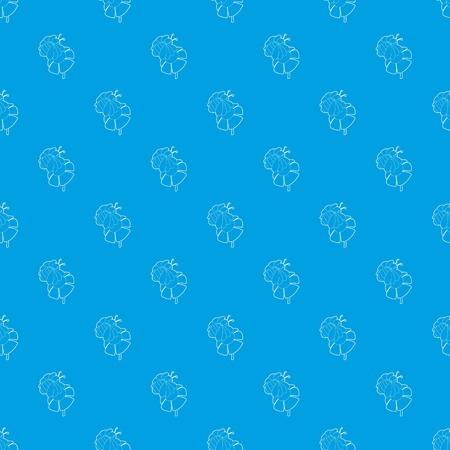 Bee on flower pattern vector seamless blue Illustration