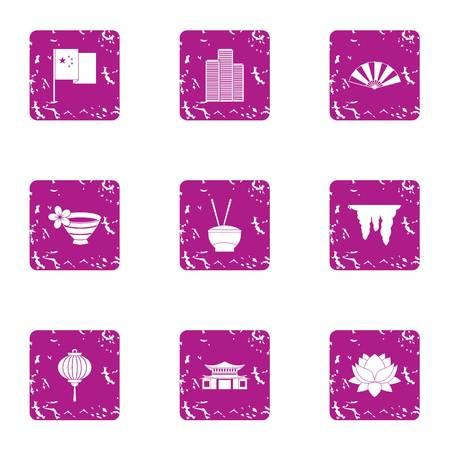 Incense icons set, grunge style