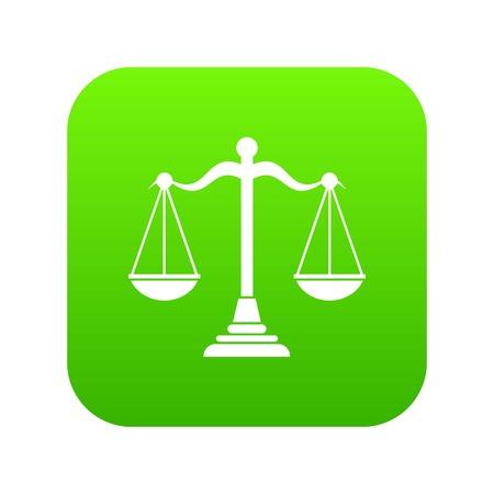 Balance scale icon digital green Illustration
