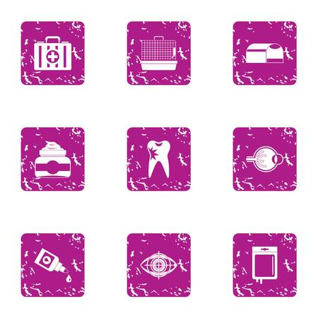 Hospital treatment icons set, grunge style Illustration